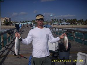 Brian with his catch of Bluefish